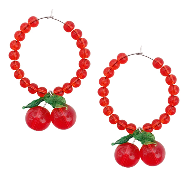 CHERRY HOOP EARRING