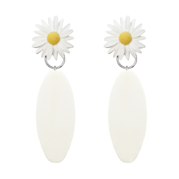 DAISY WOOD BAR EARRING | WHT