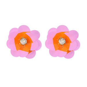 TWO-TONE FLOWER EARRING